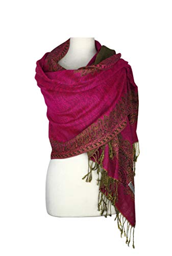 ern Double Layered Reversible Woven Pashmina Shawl Scarf Wrap Stole (003#06hot pink) ()