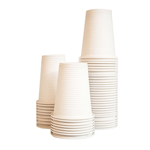 Disposable Cups - by EcoMojiWare.com - Certified Compostable Recycled Cutlery, Birthday, BBQ, Party Supplies - kitchen cutlery, combo set (50 count), Heavy Duty Corn Starch (Cups)