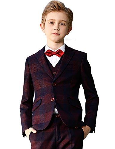 ELPA ELPA Boys Plaid Suit Set 6 Pcs Slim Fit Formal Dress by ELPA ELPA