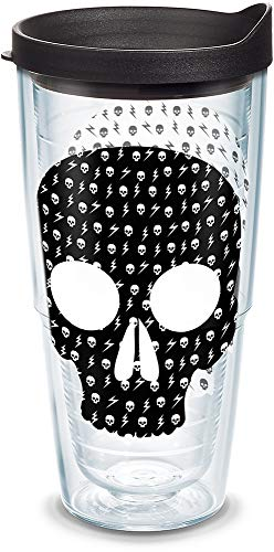 Tervis 1140797 White Skulls Insulated Tumbler with Wrap and Black Lid, 24oz, Clear]()