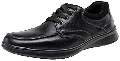 JOUSEN Men's Oxford Leather Casual Dress Shoes for Men Moc Toe Walking Shoes(13,Black) ()