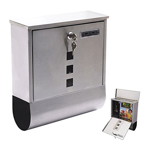 Wall Mount Mail Box Steel w/ Retrieval Door & 2 Keys & Newspaper Roll - Melbourne Terminal 2