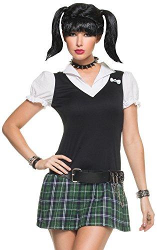 Mystery House Women's NCIS Abby's School Girl Costume, Black/White/Green, Large