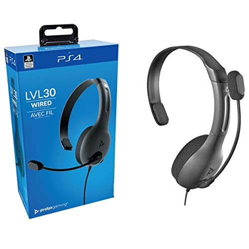 PDP Gaming LVL30 Wired Chat Headset With Noise Cancelling Microphone: Black – PS5/PS4