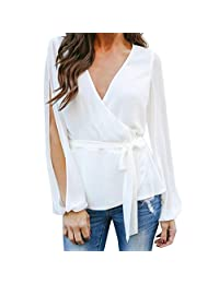0006070301d kingfansion Womens Split Long Sleeve Wrap Blouse Casual Bow V Neck Loose Top