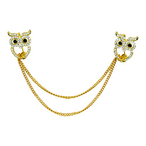 Evelots Owl Sweater Collar Clip Pin-Gold Tone-Cardigan-Shawl-Dress-Blouse-Vest (Silver Filigree Butterfly Pin)