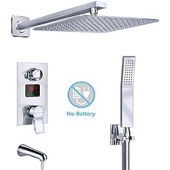 Derpras Luxury Shower System with Temperature Display, Wall
