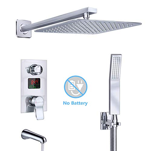 Derpras Luxury Shower System with Temperature Display, Bathroom Shower Mixer Set with Wall Mount 10 Inch Rainfall Showerhead, Handheld Shower and Tub Spout Faucet, Chrome ()