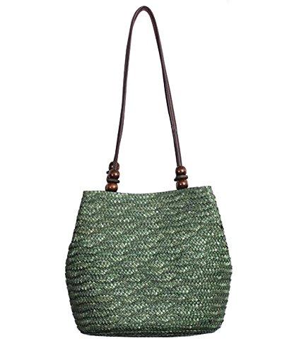 Tonwhar European Style Straw Bag Purse Woven Summer Beach Tote (Army Green)