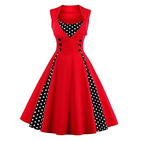 Women Evening Party Swing Classic Sleeveless Swing Full Circle Rockabilly Casual Dresses Retro Polka Dot Print Dress for Formal Occasion Plaid Large Pendulum - Circle Print Tie
