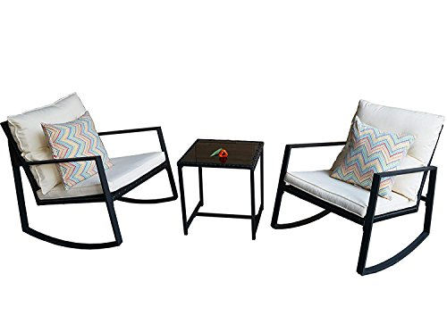 Kozyard Moana Outdoor 3-piece Rocking Wicker Bistro Set, Two Chairs and One Glass Coffee Table, Black Wicker Furniture(White Cushion+Yellow Pattern Pillow)