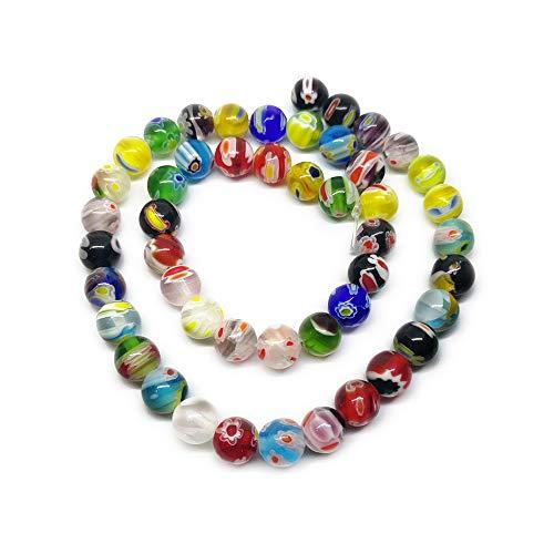 Beading Station 50-Piece Mix Millefiori Lampwork Glass Round Beads, - Millefiori Flower Pendant
