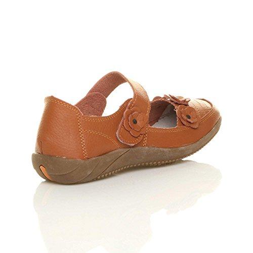 Confort Pointure Chaussures l Marche Babies Femmes Br Cuir Fleur Plat Orange Bwqx1H0gnI