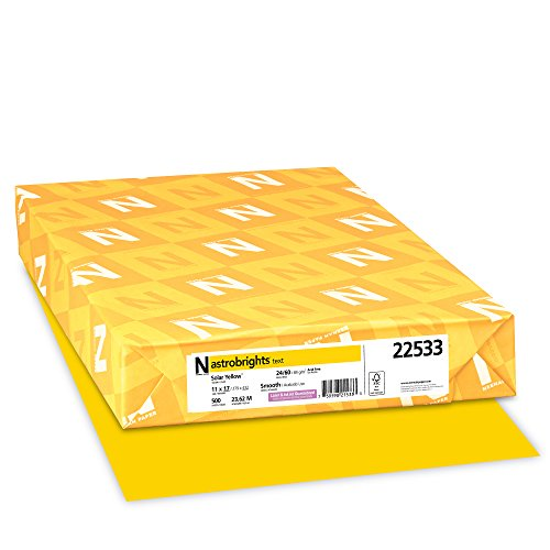Wausau Astrobrights Heavy Duty Paper, 24 lb, 11 X 17 Inches, Solar Yellow, 500 Sheets (22533)