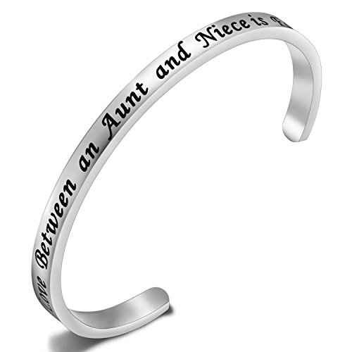 FEELMEM Best Gifts for Nieces Aunt The Love Between an Aunt and Niece is Forever Cuff Bangle Bracelet,Aunt Niece Jewelry,Bracelets for Aunts and Nieces(Silver)