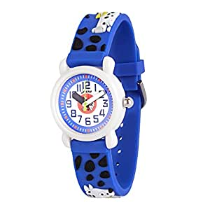 Wolfteeth Analog Boys School Day Christmas Wrist Watch with Second Hand Cool Small Face Water Resistant Outdoor Sport Watch Spotty Dog Blue 308101