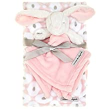 Blankets & Beyond Pink and White Blanket & Bunny Nunu 2 Pc Set by Blankets and Beyond