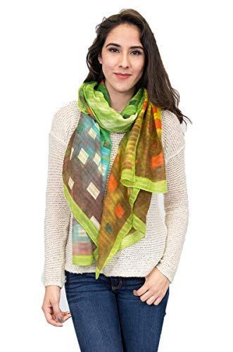 Water color abstract square Scarf with Borders Print Scarf (Green)