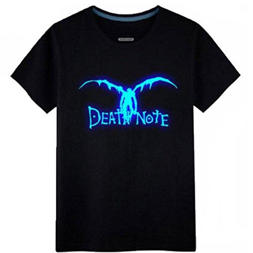 Poetic Walk Hot Anime Death Note Cosplay Costume Luminous Tshirt Tee (Large, Black)