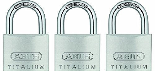 ABUS 64TI/40 C KA Titalium Aluminum Alloy Keyed Alike Padlock set of 3, 1-1/2-Inch Padlock with 1/4-Inch Diameter Nano Protect Steel Shackle by ABUS