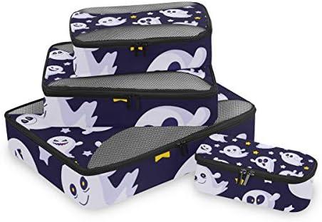 ハロウィンスターズハッピーゴースト荷物パッキングキューブオーガナイザートイレタリーランドリーストレージバッグポーチパックキューブ4さまざまなサイズセットトラベルキッズレディース
