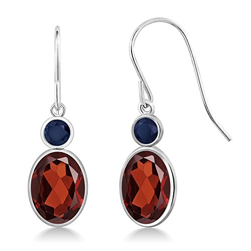 Gem Stone King 3.06 Ct Oval Red Garnet Blue Sapphire 14K White Gold Earrings