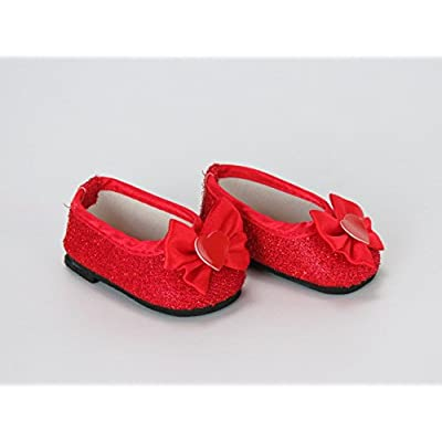 American Fashion World Glitter Heart Dress Shoes Made for 18 inch Dolls Such as American Girl Dolls (red): Toys & Games