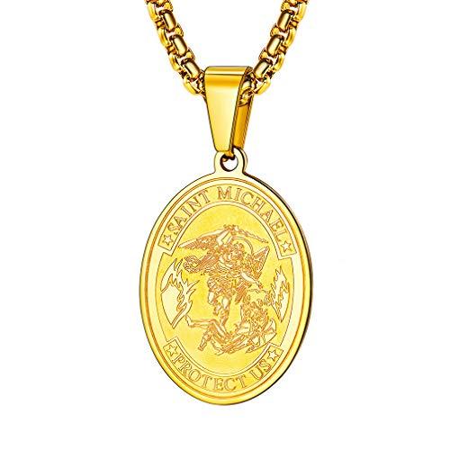 FaithHeart Saint Michael Pendant Necklace, St. Michael The Archangel Necklace Jewelry (Oval/Gold)