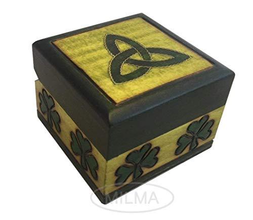 (Celtic Shamrock Box Polish Handmade Linden Wood Keepsake Jewelry Cufflink Ring Box)