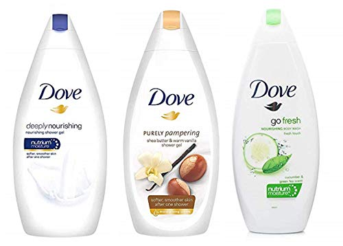 Dove Body Wash Variety Pack- Shea Butter with Warm Vanilla, Deeply Nourishing and Cucumber & Green Tea - 16.9 Ounce / 500 Ml (Pack of 3) International Version