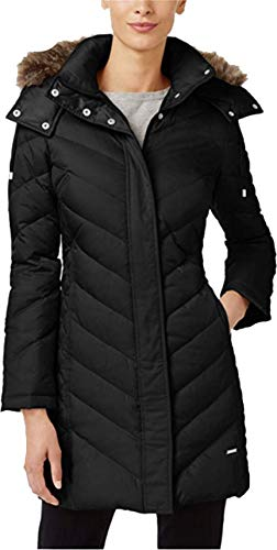Kenneth Cole Quilted Coat - Kenneth Cole Women's Faux-Fur-Trim Chevron Quilted Down Coat Black XL