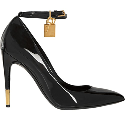 Single Dress Evening Black Pumps TDA Women's Strap Stiletto Toe Patent Pointed Leather Party q77t6FTwR