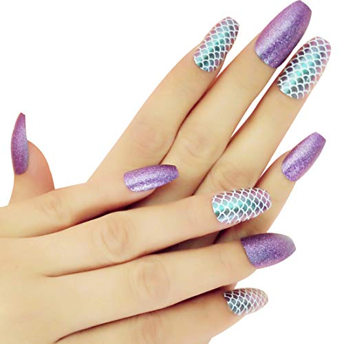 Ballerina Fake Nail Tips Designed with Purple Glitter & Mermaid Fish-scale Coffin Nails for Women Nail Art by Polly Online