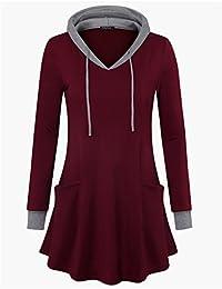 Suéter para mujer sudadera con capucha de manga larga para bloque de color túnicas parte superior con bolsillos