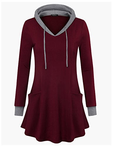 Sweatshirt+Tunic%2CVALOLIA+Long+Sleeve+V+Neck+Pullover+Hoodie+Sweatshirts+Wine+Red+XX-Large