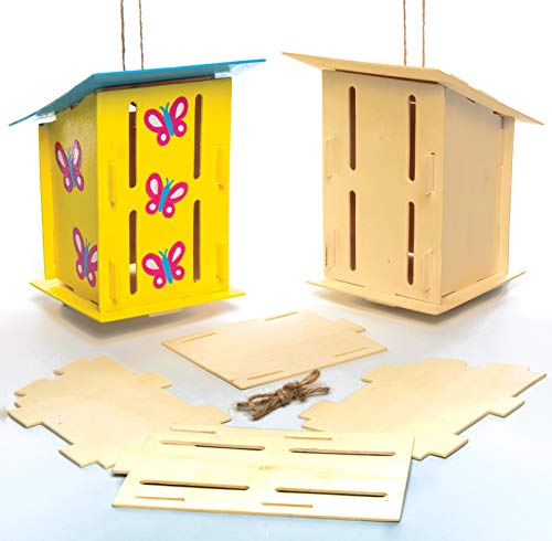2 Wooden Butterfly Houses for Children to Decorate. Creative Craft Set for Kids (House Kit Butterfly)