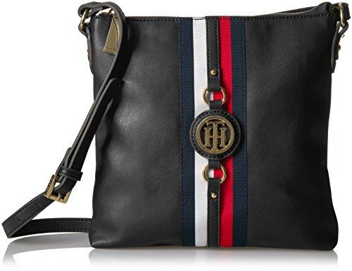 Tommy Hilfiger Crossbody Bag for Women Jaden, Black Polyvinyl Chloride