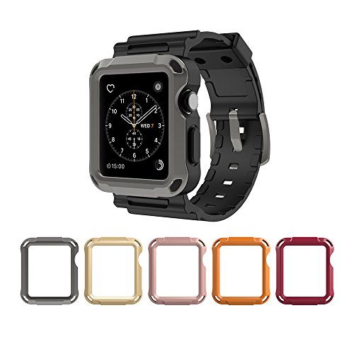 Price comparison product image Simpeak 5 Color Protective Case with Black Strap Bands for Apple Watch 42mm Series 1 Series 2