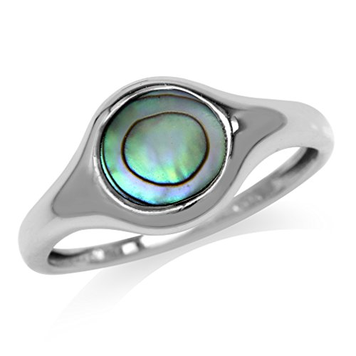 Abalone/Paua Shell White Gold Plated 925 Sterling Silver Solitaire Casual Ring Size 8 by Silvershake