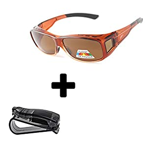 Fit Over Polarized Sunglasses to Wear Over Prescription Glasses + car clip holder