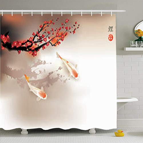 YeaSHARK Shower Curtains 72 x 72 Inches Single Koi Carps Red Spirituality Sacura Wildlife Fish Nature Home Decor Fabric Waterproof Bathroom Set with Hooks