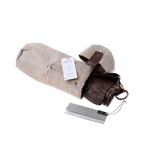 Bolso hombre piel lavada teñido en prenda con bandolera de DUDU Cocoa Brown