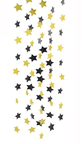 2pcs Gold Black Sparkle Twinkle Star Paper Garland for Wedding Birthday Party Baby Shower Gold Black Themed Party Hanging Decoration Favor Table Wall Ceiling Decor Photo Back Decor(2.16