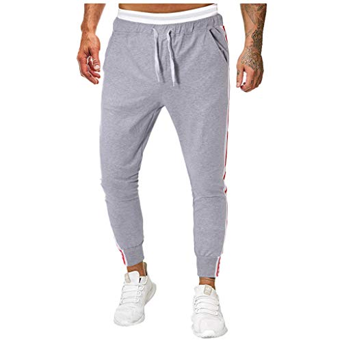 Aleola Men Sport Letter Print Belts Casual Loose Sweatpants Drawstring (Gray,XXL)
