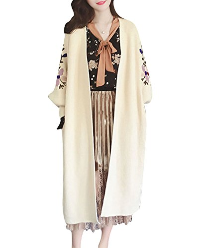 Sweaters Chandail Beige Femmes longue section Tricot Manche Cardigans longue broderie Pull wTvYxqfTz1