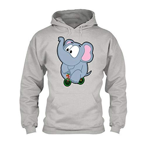 Elephant Riding Bike Men Hoodies, Women Hooded Sweatshirts Ash,2XL