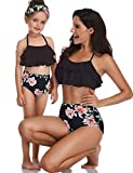XUNYU Girls Swimsuit Falbala High Waisted Bathing