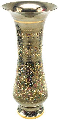[Bronze] Pakistani-Style Highly-Detailed Bronze Vase Vintage Antique Slim (Majolica Centerpiece)