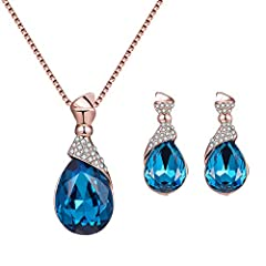 Specifications: Featuring water drop shape, rhinestone inlaid, elegant and stylish. Perfect for party, wedding, dating, even daily wearing, etc. Nice gift for your female friends.  Type: Jewelry Set Gender: Women's Theme: Beauty Style: Fashio...