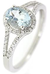 Split Shank Sterling Silver Oval Cut Natural Aquamarine Ring (3/4 CT.T.W) with Accent